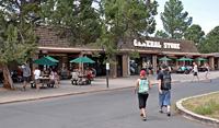 visitors approaching the south rim general store.