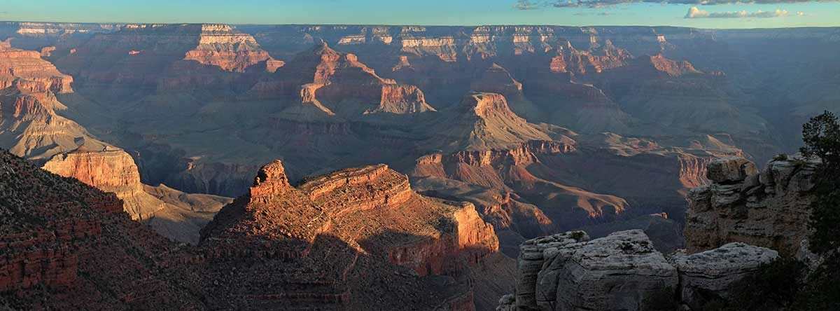 Early morning view of Grand Canyon from village historic district