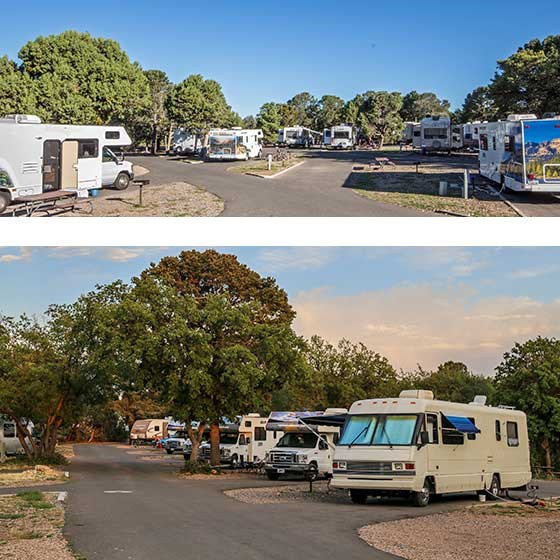 2 photos of Trailer Village RV park. Top photo is a wide panorama showing a number of RVs in sites. bottom photo is looking down a road with a row of RVs facing the street.