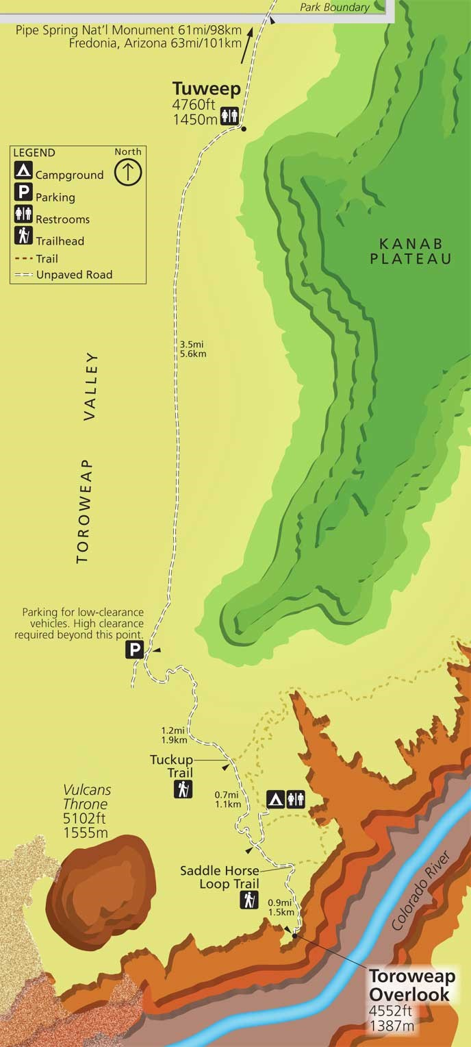 color map of tuweep, Grand Canyon National Park