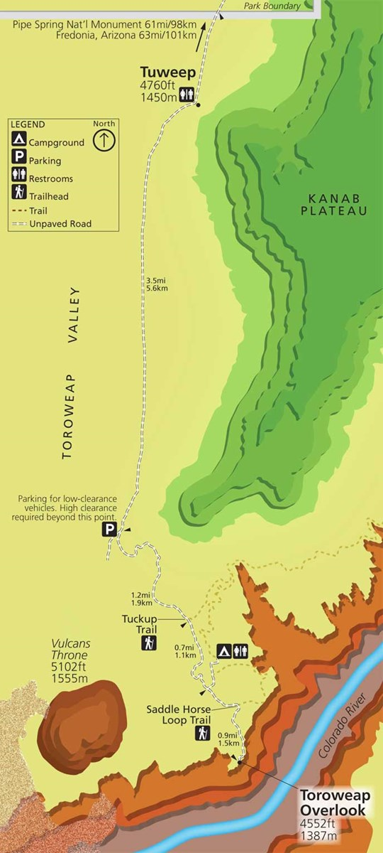 Map of Tuweep area. shows ranger station, campground, trails, and Toroweap Overlook above Colorado River, 6.3 miles (10.1km) south of ranger station.