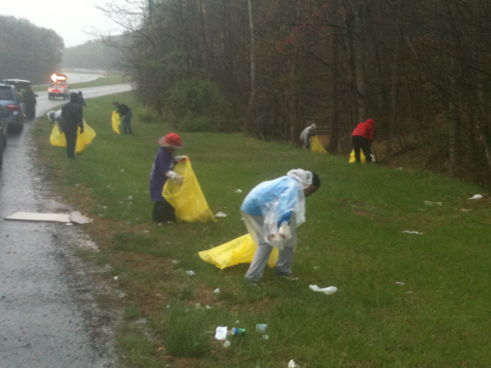 a picture of DC Cares volunteers picking up trash and cleaning Still Creek in a volunteer event at Greenbelt Park, Maryland