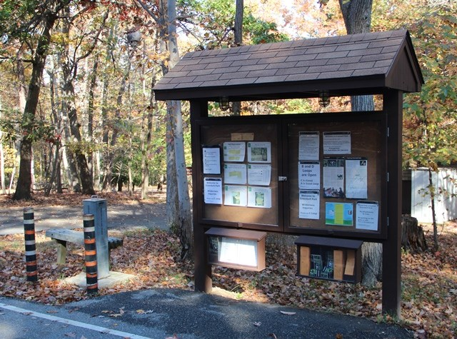 a picture of the Greenbelt campground bulletin board