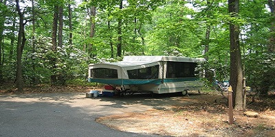 a tent trailer in the Greenbelt Maryland campground