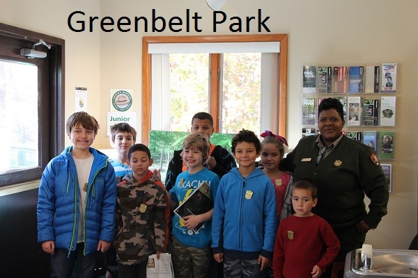 junior rangers with a park ranger