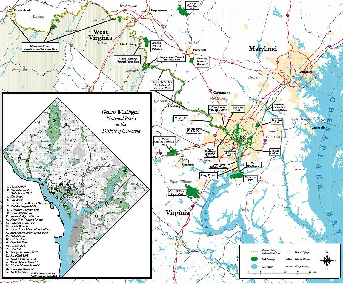 Greater Washington National Parks Greenbelt Park US National - Map us parks