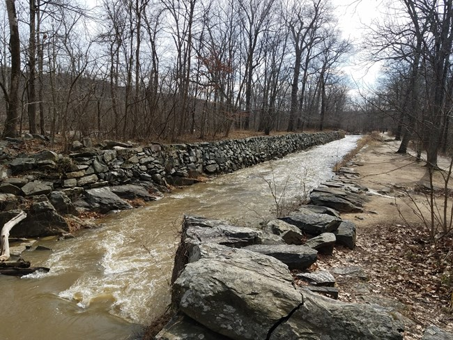 Here is an image of the stone ruins of an upstream portion of the Patowmack Canal at Great Falls Park with water running in it; an uncommon sight in the park.