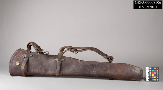Leather rifle scabbard.
