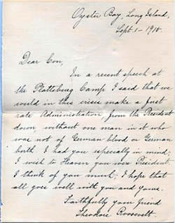 Letter written to Conrad Kohrs from Theodore Roosevelt in 1915.