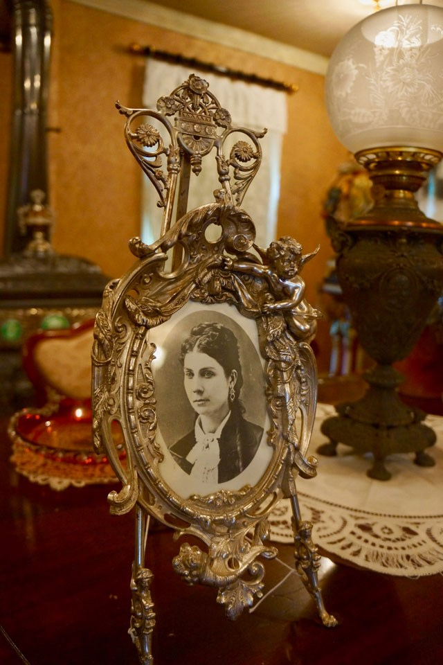 Augusta Kohrs photo in silver frame on display in the Formal Parlor