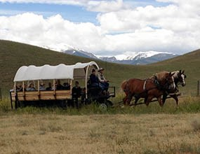Wagon tour out on the ranch.