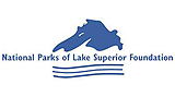Lake Superior in blue with a white background logo of NPLSF.