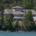 View from Grand Portage Bay (Lake Superior) of the Heritage Center at Grand Portage.