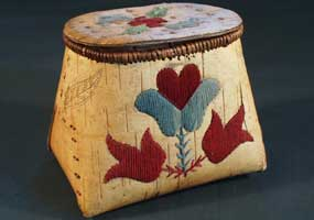 Ojibwe birchbark basket (Makuk) with porcupine quillwork dyed red and gray