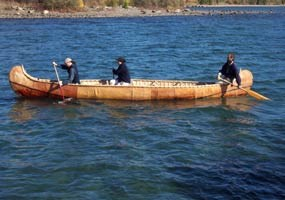 A North canoe in Lake Superior on Grand Portage Bay.