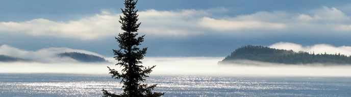 Fog shrouds the land on Lake Superior.