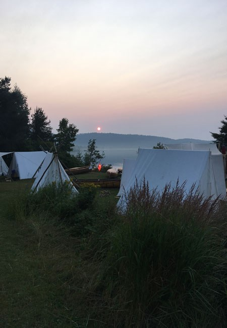 Sunrise over the historic encampment on Lake Superior.