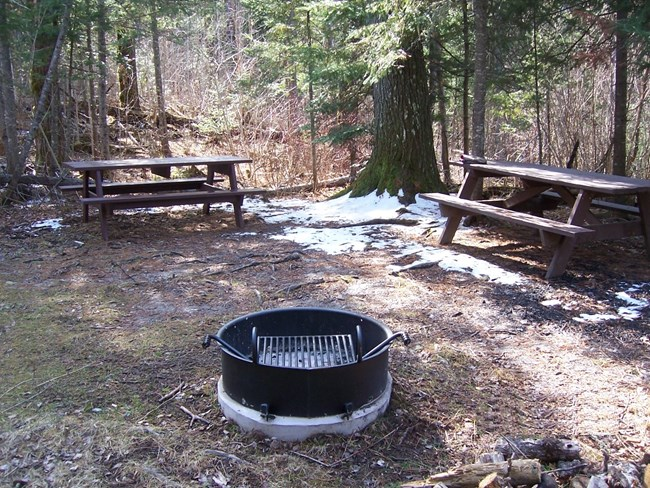 A circular cook and warming ring at the Fort Charlotte campgrounds