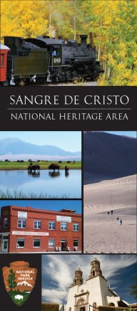 Collage of photos of Sangre de Cristo National Heritage Area, including a train, bison, dunes, historic building, church, and NPS arrowhead