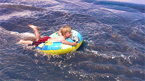 Boy Tubing Medano Creek