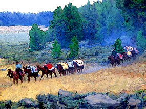 Illustration of Mule Train with Colorful Blankets on the Old Spanish Trail