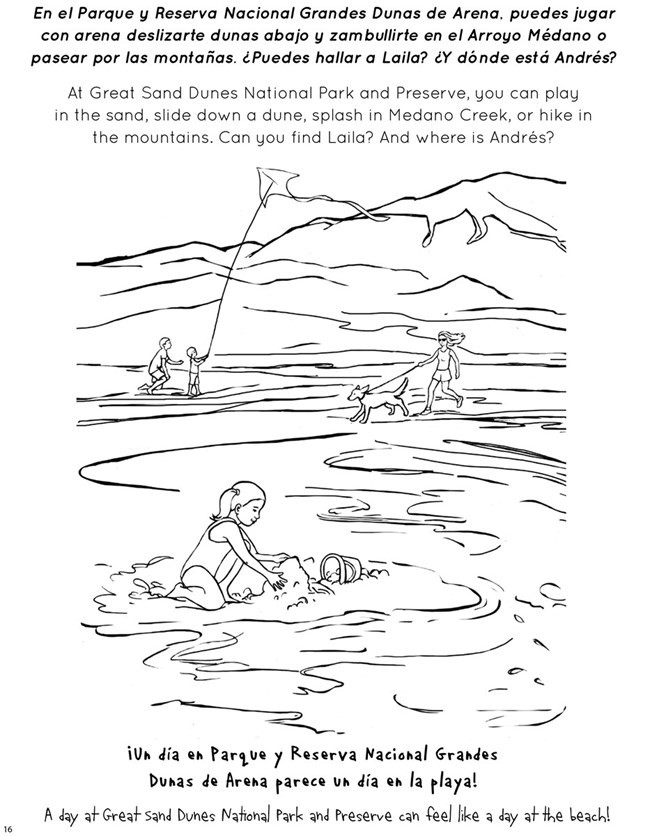 Coloring page showing girl in Medano Creek and boy flying kite