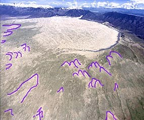 Aerial photo showing parabolic dunes