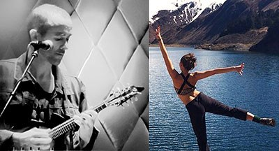 Kevin Larkin playing mandolin on left, and Erica Prather dancing beside a mountain lake on right