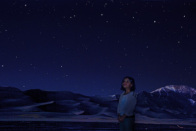 Girl Looking at Stars with Dunes in Background