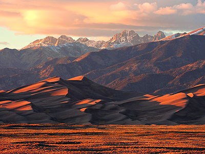 Sunset Light on Star Dune and Crestone Peaks