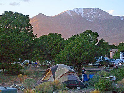 Pinon Flats Campground tent and trees
