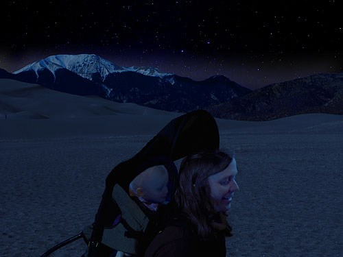 Woman and Baby on the Dunes at Night