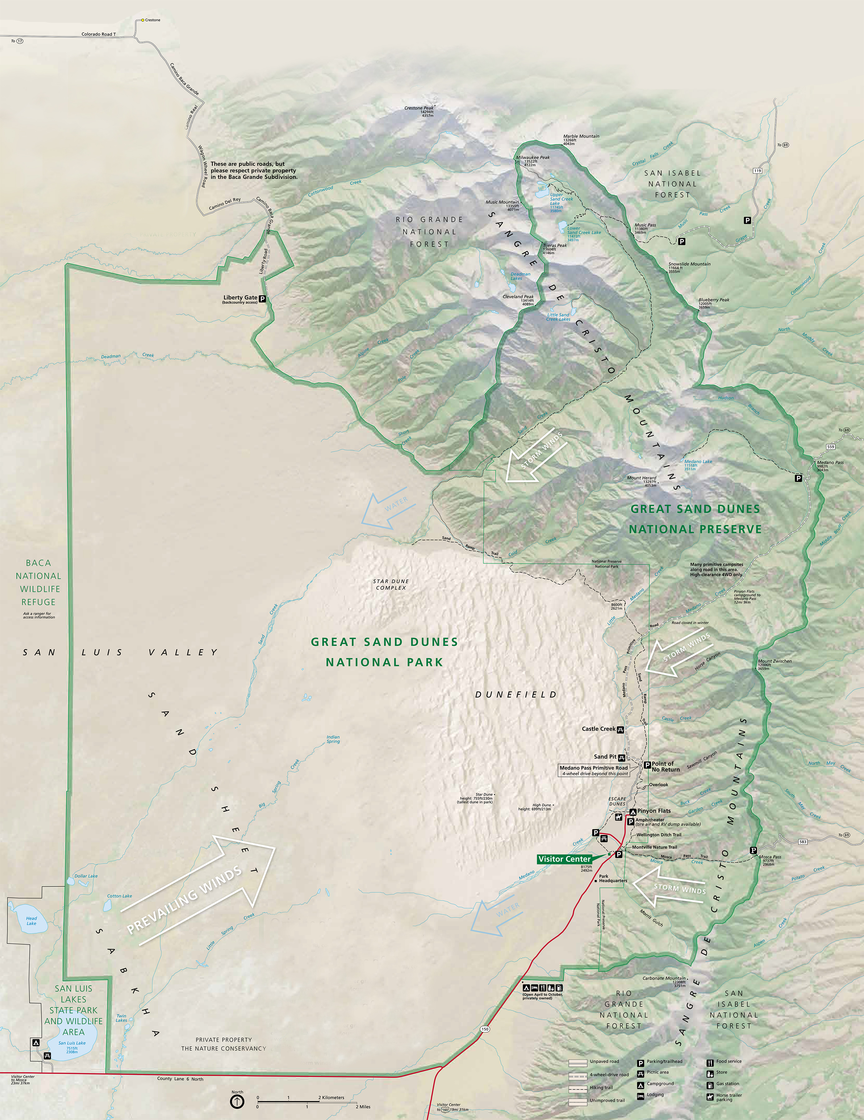 Map Showing Grasslands, Dunes, And Mountains - Map showing grasslands, dunes, and mountains