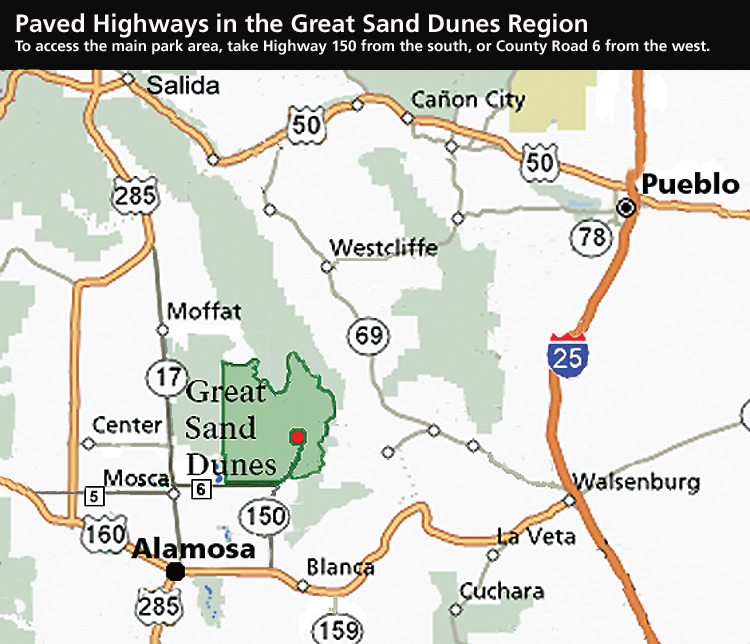Great Sand Dunes Area Highway Map