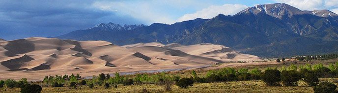 Panoramic Dunes and Mountains