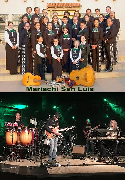Top photo of Mariachi San Luis posed in a group with instruments, and bottom photo of three musicians from Soul Sacrifice playing on a stage.