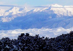 Fresh snow on dunefield and Sangre de Cristo Mountains