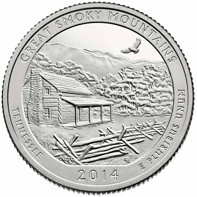 Image of the back of the Smokies quarter, showing a cabin, mountains and a hawk soaring.