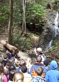 Class at waterfall