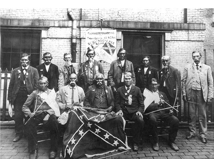 Members of the famed Thomas's Legion pose for a picture many years after the end of the Civil War.