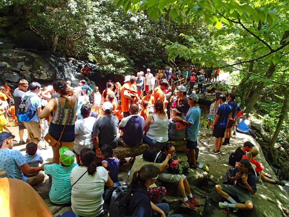 This image shows a crowd of people at Laurel Falls - the waterfall is in the background.