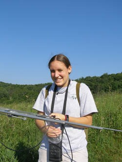 Intern uses telemetry to track box turtles.