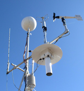 Temperature and wind sensors at Cove Mountain.