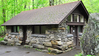 This historic comfort station at Chimneys Picnic Area exemplifies the fine stonework of Civilian Conservation Corps crews.