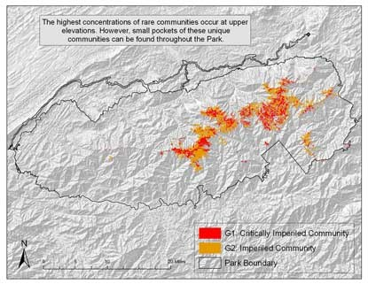 Map of Great Smoky Mountains National Park showing G1 and G2 imperiled communities.