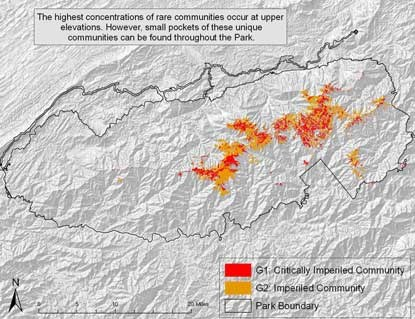 Globally imperiled communities in Great Smoky Mountains National Park.