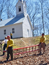 The Fire Crew sets up near the Little Cataloochee Baptist Church.