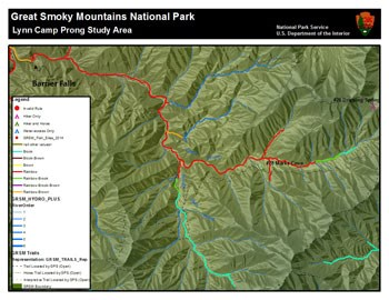 A map showing the study areas of Lynn Camp Prong in Great Smoky Mountains National Park