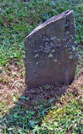 A lichen-covered gravestone.