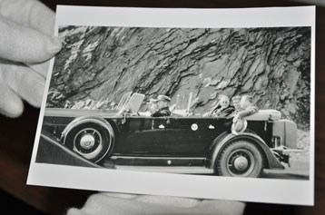 Photo of Roosevelt riding to Newfound Gap to dedicate the Great Smoky Mountains, 1934.